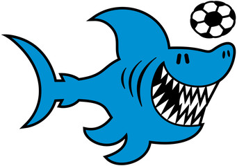 Nice shark going animatedly after a soccer ball