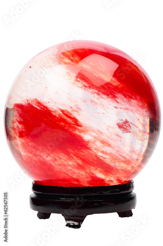 Red crystal ball on the stand