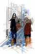 France Paris - two women strolling in a passage