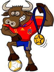 Soccer Champion Bull Proudly Showing its Medal