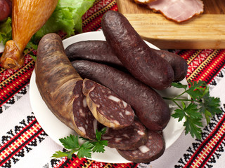 Blood sausages (black pudding).