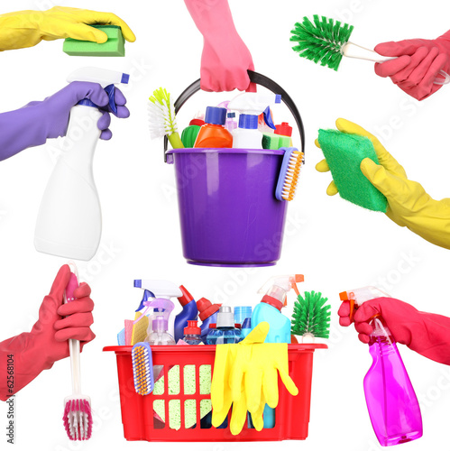 Cleaning items in hands isolated on white