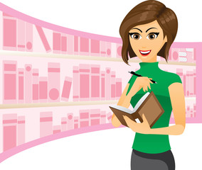 Girl writing in notebook with library background