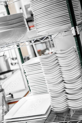 Stack of Cleaned Dishes in a Restaurant