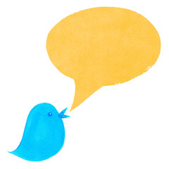 Blue Bird with Yellow Speech Bubble
