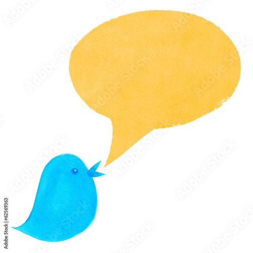 Blue Bird with Yellow Speech Bubble