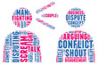 Verbal conflict concept pictogram vector tag cloud