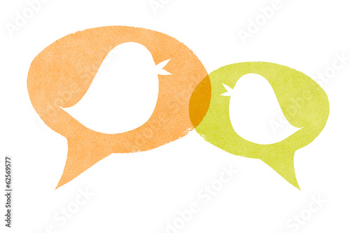 Birds with Orange and Green Speech Bubbles