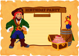 Birthday party card with pirate