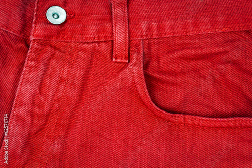 Red jeans fabric with pocket