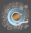 Coffee cup vector with business doodles