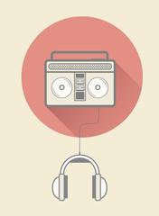 Retro tape player with headphones
