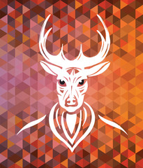 Stag with antlers on brown and orange pattern