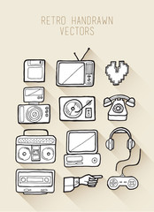 Retro hand drawn vectors in black and white