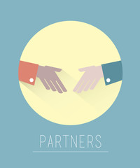 Business partnership handshake vector on blue