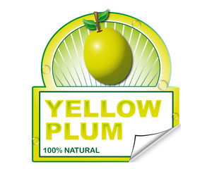 Yellow plum's label for marketplace