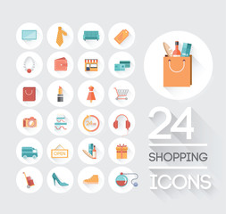 Shopping and retail icons on grey