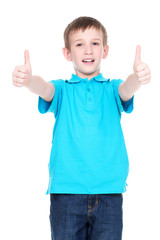 Cheerful boy showing thumbs up gesture.