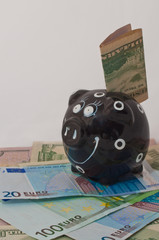 piggy bank standing on money