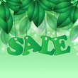 seasonal sale.floral design. word sale on background spring foli