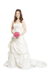 Female bride holding a wedding bouquet of pink roses smiling