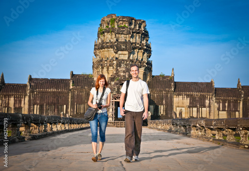 Couple at  Angkor Wat temple, Cambodia.