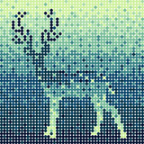 Abstract blue circles deer background