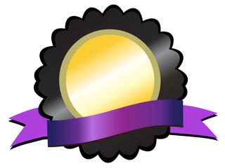 Gold medallion on black, violet ribbon below