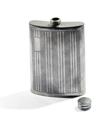 Silver metal hip flask for carrying whiskey