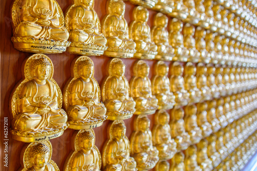 Thousand golden buddha sculpture on a wall