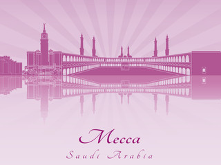 Mecca skyline in purple radiant orchid