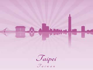 Taipei skyline in purple radiant orchid