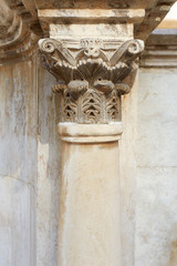 Corinthian column and capital in roman theatre