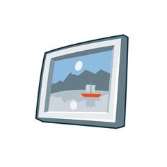 Photo frame icon in cartoon style