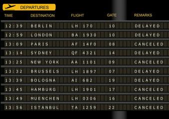 Flughafen Display Abflug