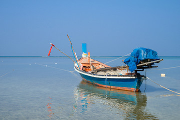 Traditional thai boats at  beach.