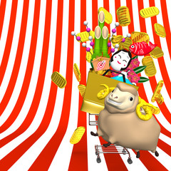 Sheep, New Year's Ornaments And Shopping Cart On Stripe