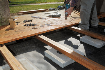 Constructing a wooden patio