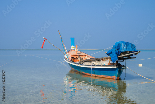 Traditional thai boats at  beach.