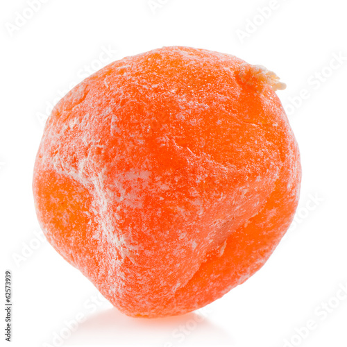 Dried kumquat isolated on white close-up