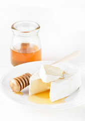 Camembert cheese and honey