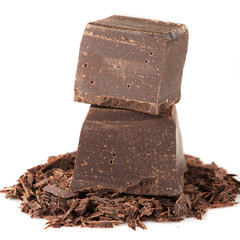 Chunks of chocolate and chopped chocolate
