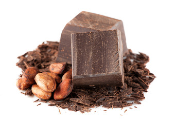 Dark chocolate and cocoa beans over White