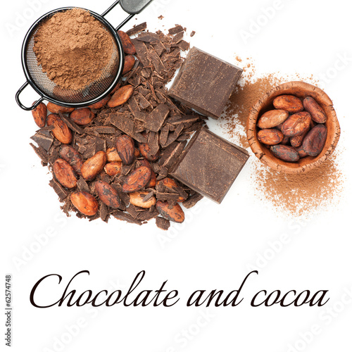 Chocolate and cocoa over white