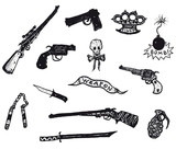 Guns, Revolver, Weapons And Rifles Set