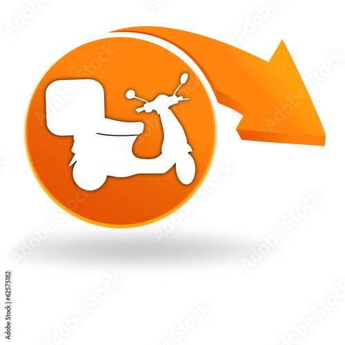 livraison domicile scooter sur bouton orange fichier vectoriel libre de droits sur la banque. Black Bedroom Furniture Sets. Home Design Ideas