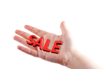 image of a hand with the inscription sale