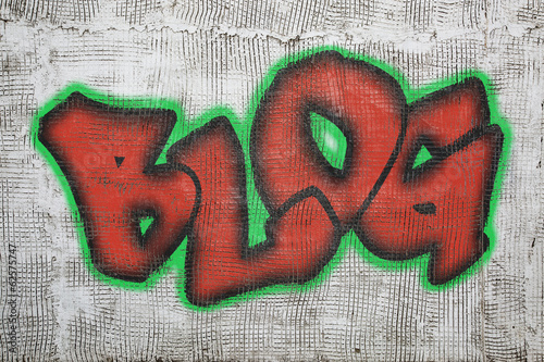 blog word graffiti on plaster wall