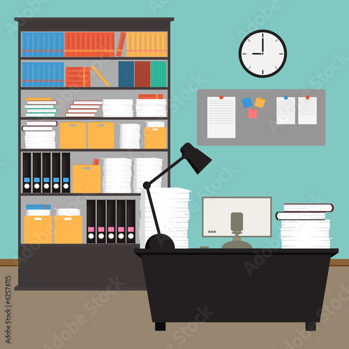 Vector Office room.interior,books,desk,clock,computer,paper