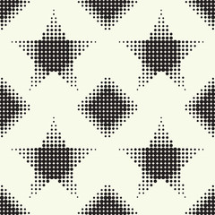 Seamless pattern with stars and diamonds. Vector halftone dots.